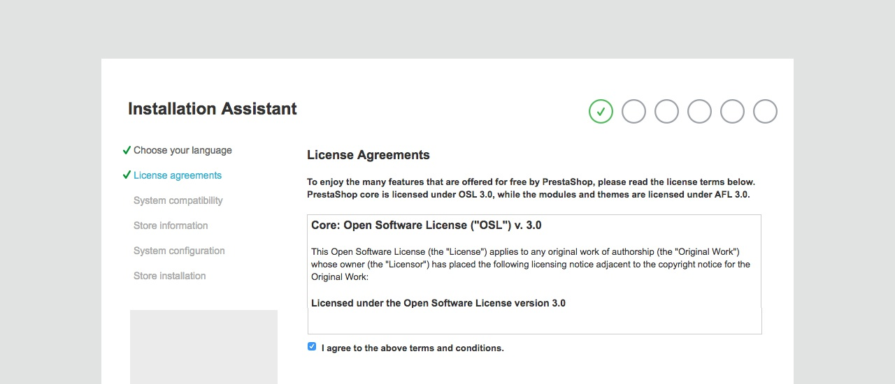 License agreements - Prestashop Installation